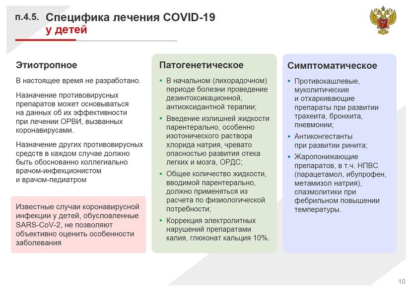 Специфика лечения COVID 19 у детей