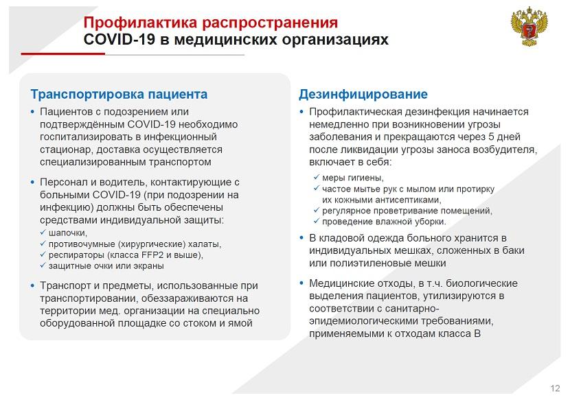 Профилактика распространения COVID 19 в медицинских организациях
