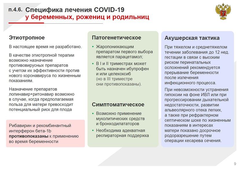 Специфика лечения COVID 19 у беременных, рожениц и родильниц